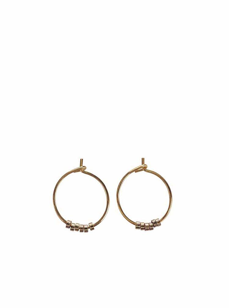 Menšie kruhové náušnice v zlatej farbe Pieces Peru