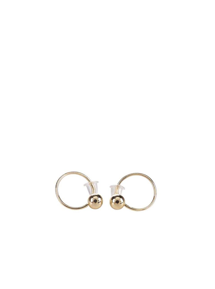 Menší kruhové náušnice s kuličkou ve zlaté barvě Pieces Pinnu