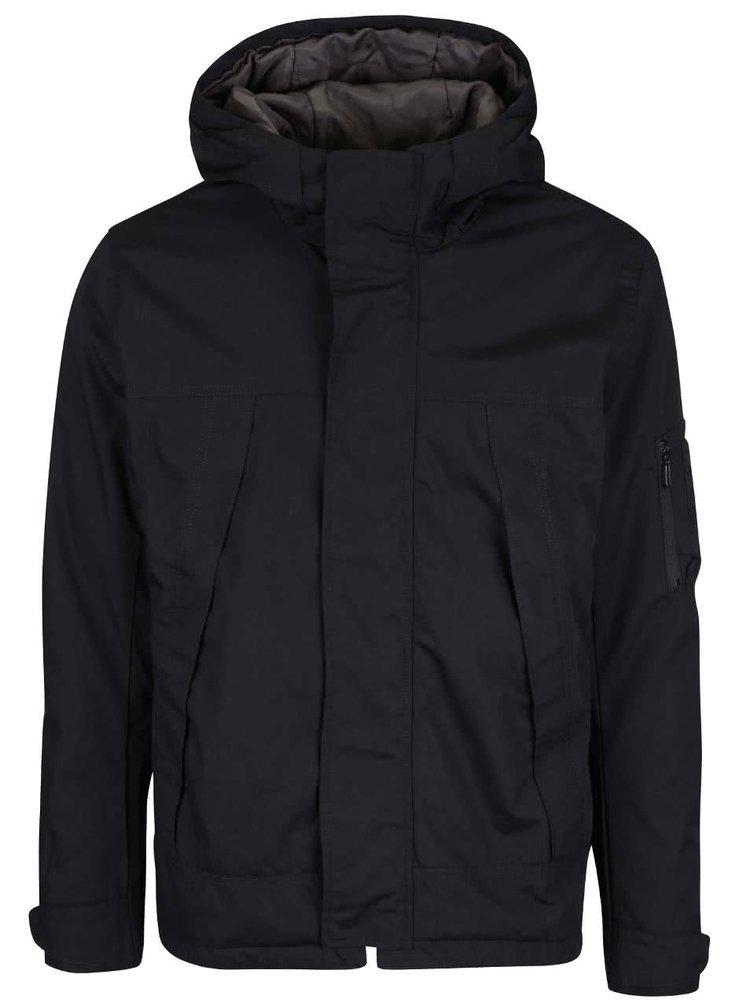 Čierna bunda s kapucňou ONLY & SONS Osvald
