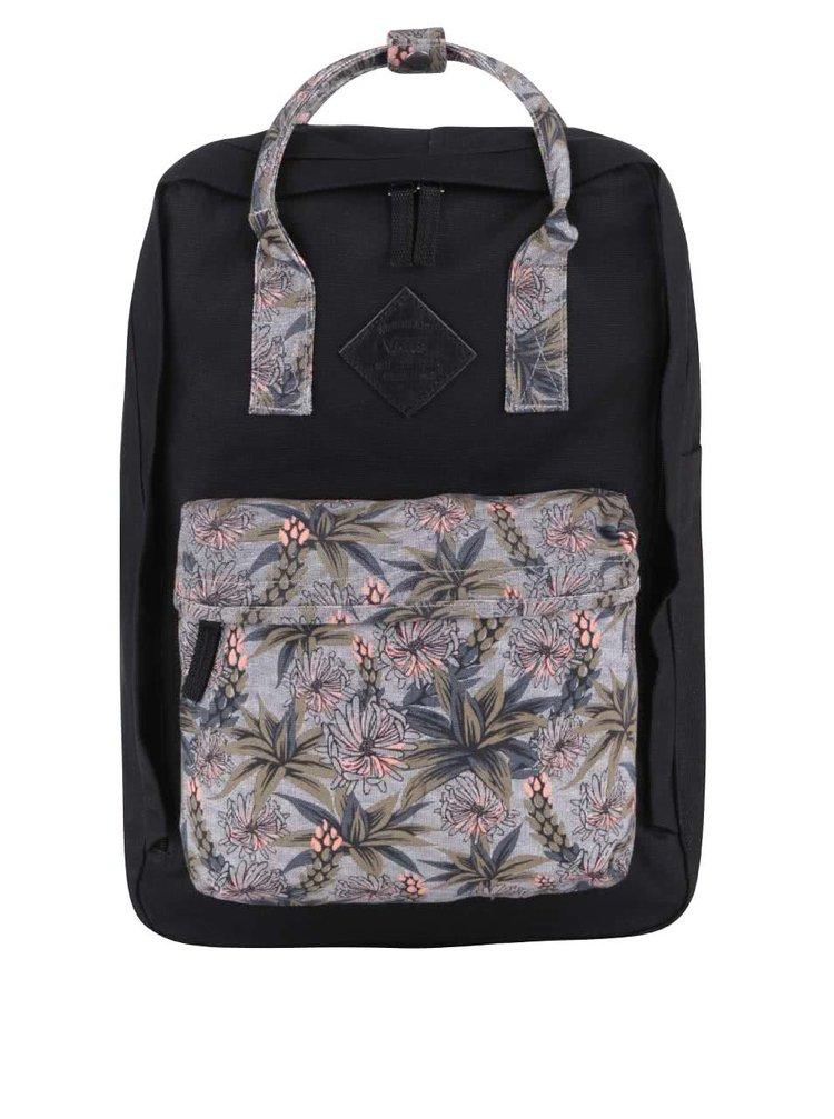 Černý dámský batoh s tropickým vzorem Vans Icono Square