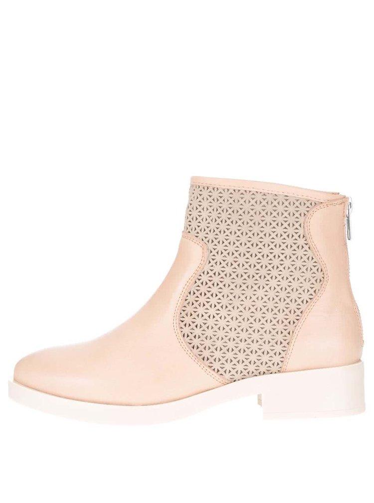 Béžové kožené kotníkové boty OJJU