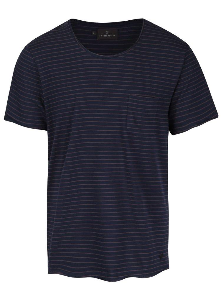 Tmavomodré pánske pruhované tričko Casual Friday
