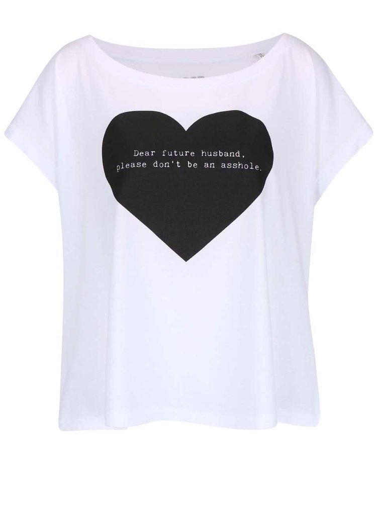 Tricou alb ZOOT Original Dear Future din bumbac cu print