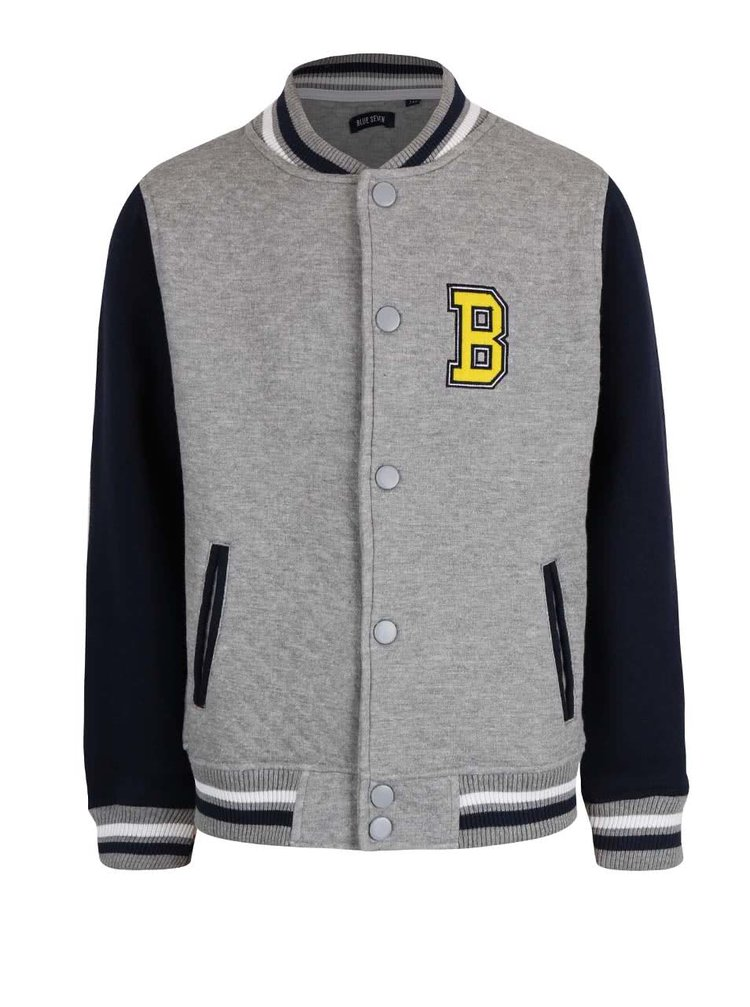Sivá chlapčenská baseballová bunda Blue Seven