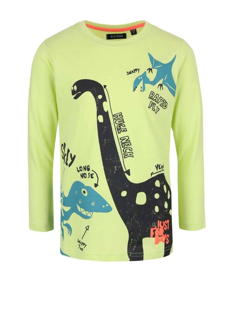 Zelené chlapčenské tričko s potlačou dinosaurov a dlhým rukávom Blue Seven
