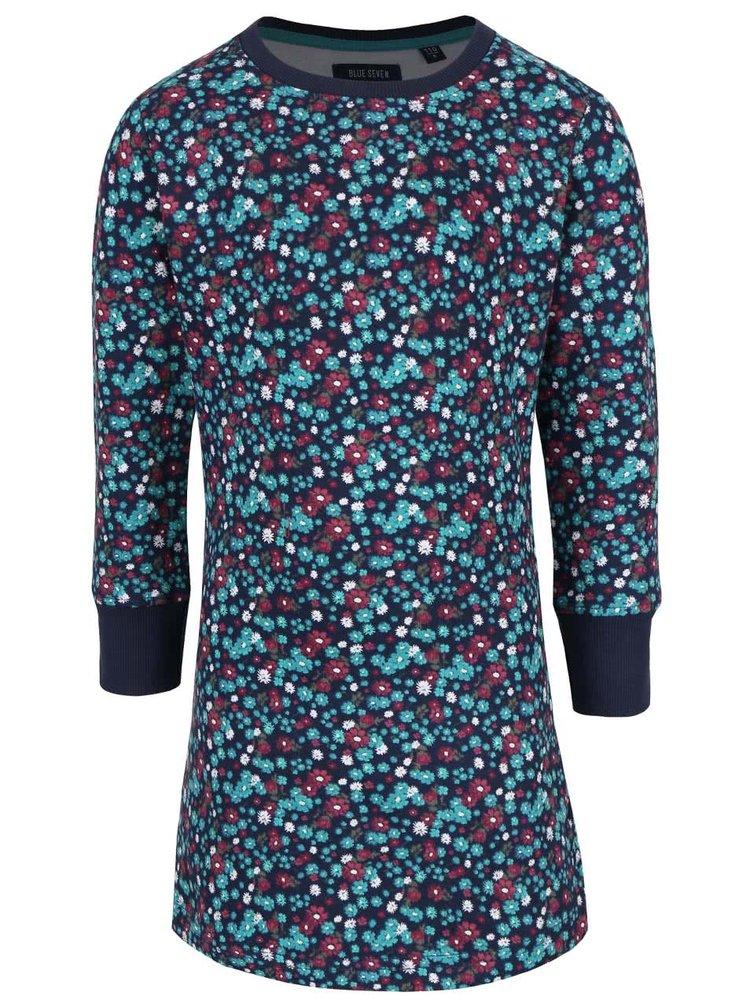 Tmavomodré dievčenské kvetované mikinové šaty Blue Seven