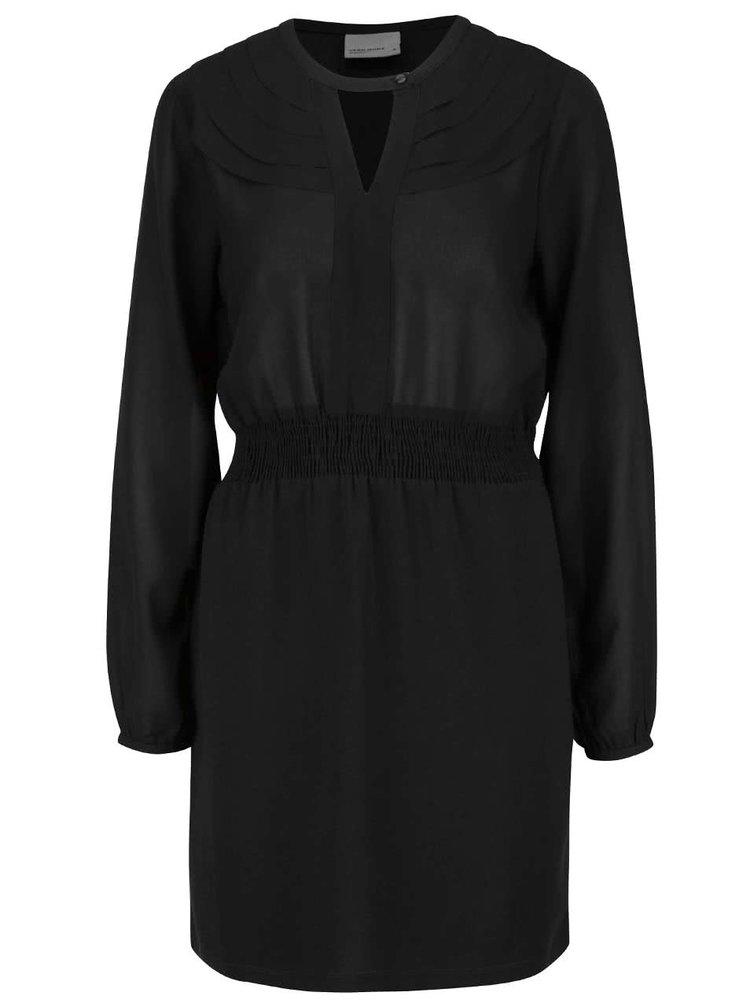 Čierne šaty s dlhým rukávom a gombíkom v dekolte VERO MODA Lova