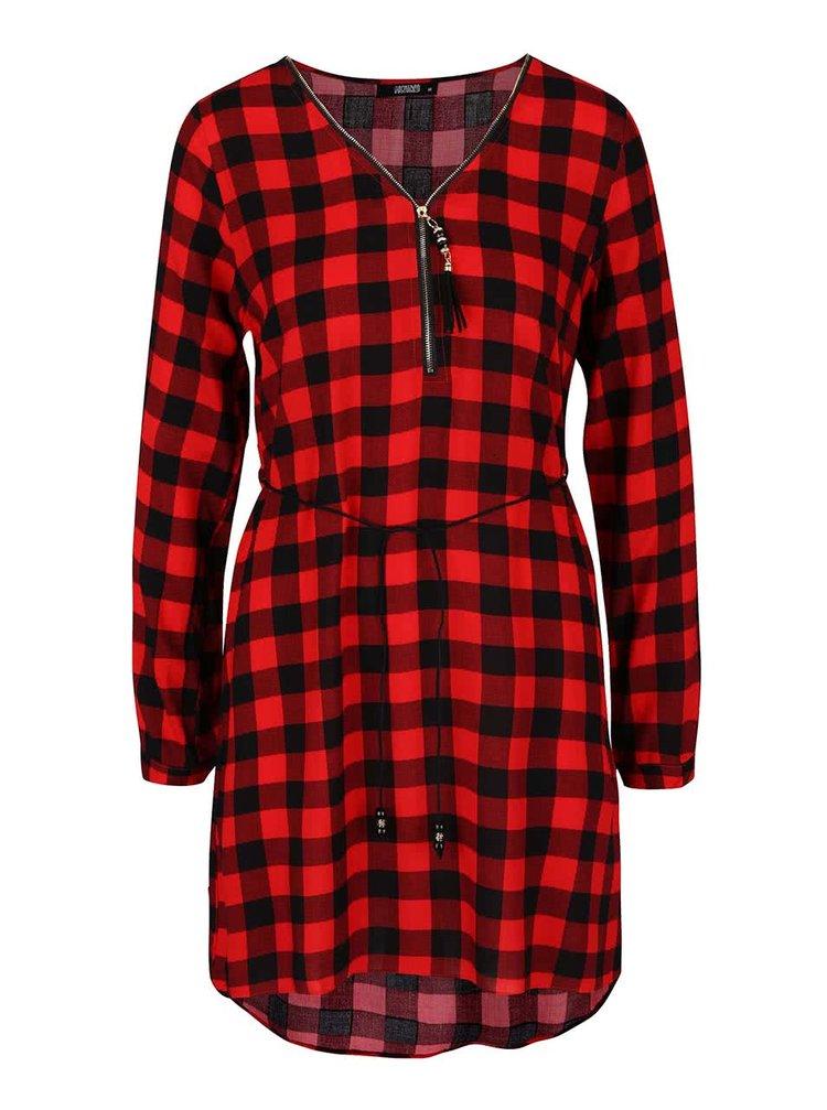 Rochie cu imprimeu cu carouri Haily´s Cathrine roșu cu negru