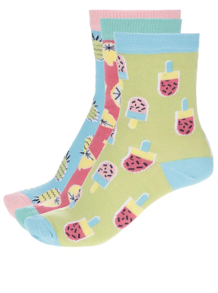 Sada tří barevných dámských/holčičích ponožek s motivem ovoce Oddsocks Kitschy