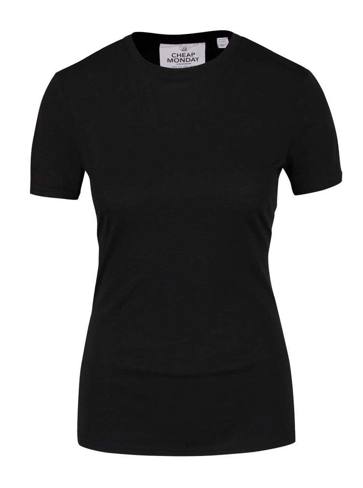 Čierne dámske tričko s prackami Cheap Monday Row