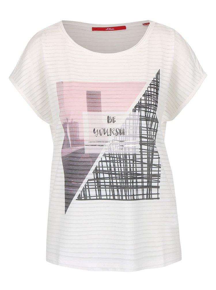 Krémové dámské lehké tričko s potiskem s.Oliver