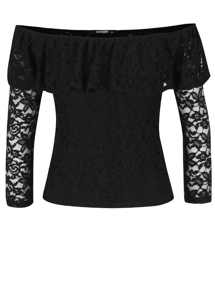 Bluză din dantelă Haily´s Camilla cu umeri goi neagră