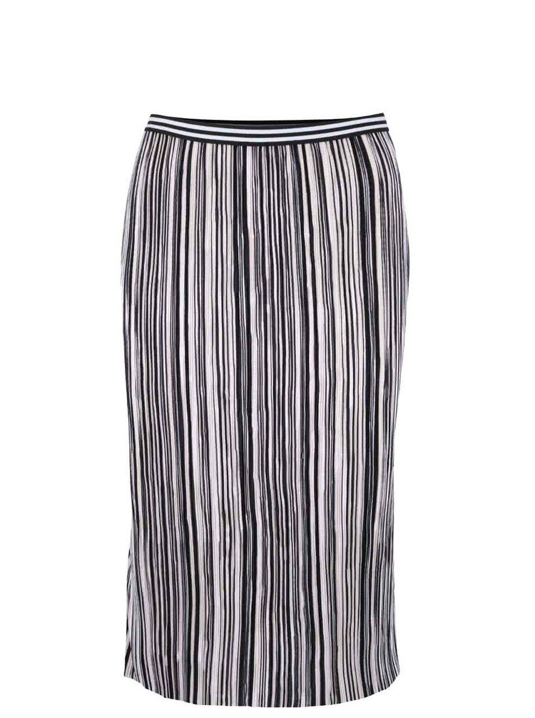 Čierno-biela pruhovaná plisovaná sukňa s gumou v páse Miss Selfridge