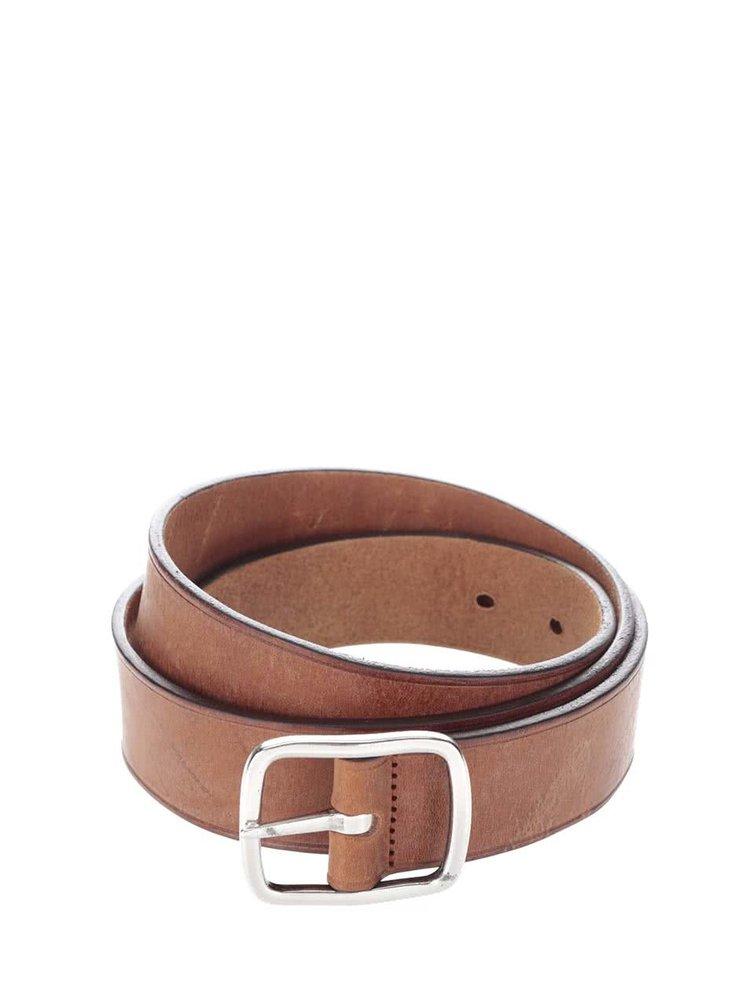 Hnedý kožený pánsky opasok s klasickou sponou GANT