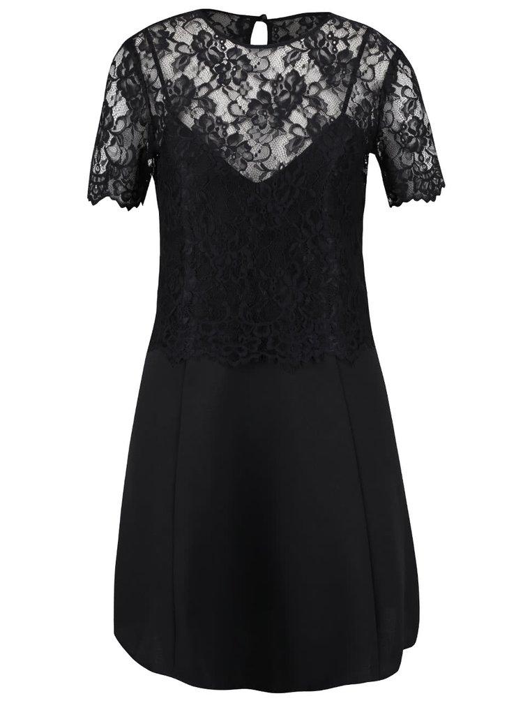 Čierne šaty s čipkovaným topom Miss Selfridge