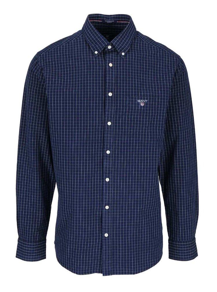 Tmavomodrá pánska košeľa s kockovaným vzorom GANT