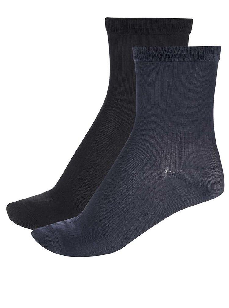 Súprava dvoch párov ponožiek v čiernej a tmavomodrej farbe Pieces Polly