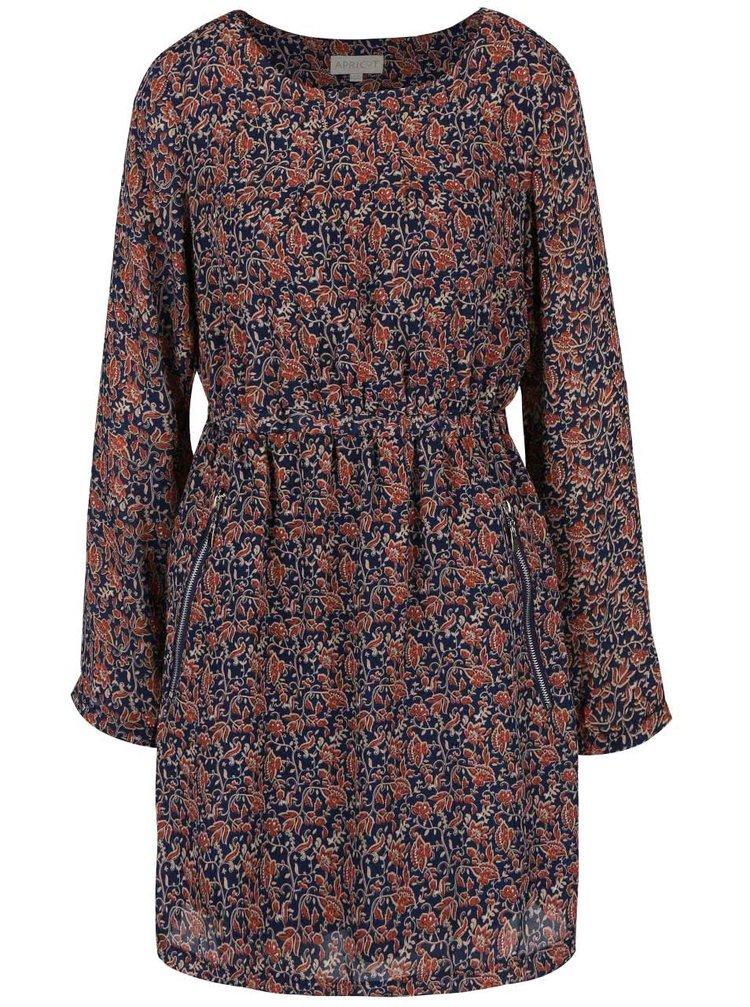 Hnedo-modré kvetované šaty so stiahnutím v páse Apricot