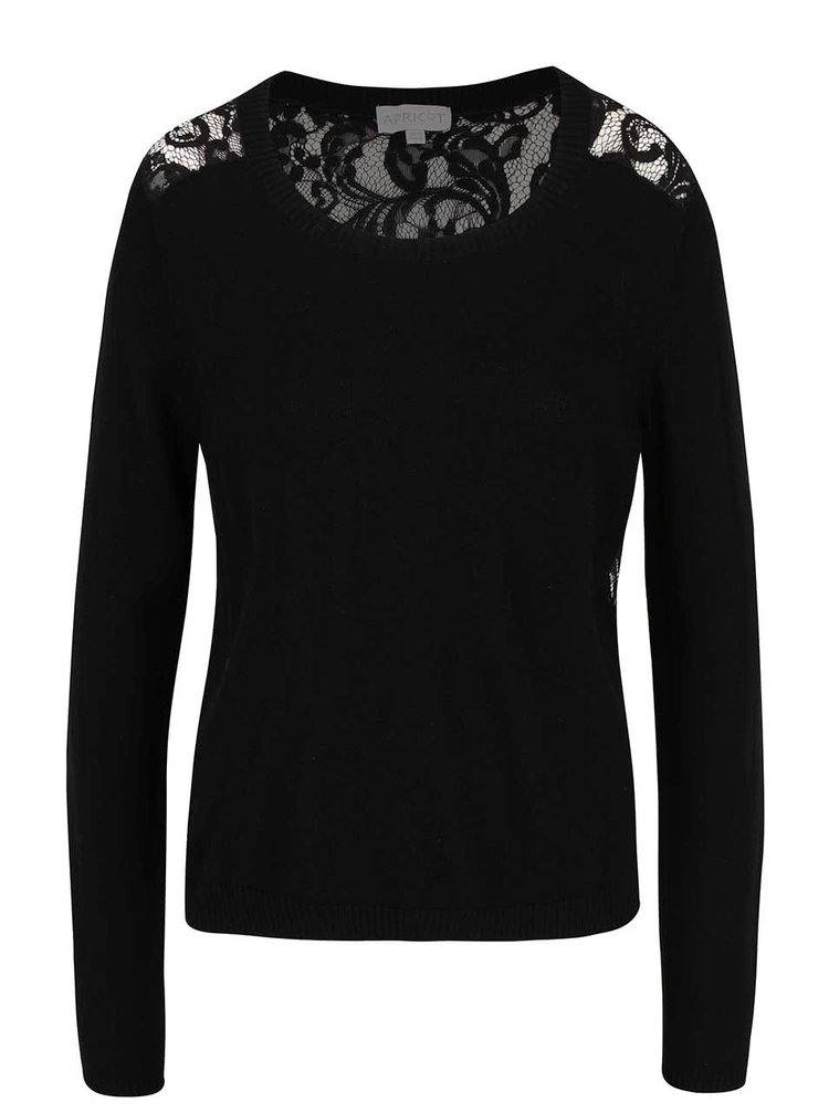 Čierny ľahký sveter s čipkovaným chrbtom Apricot