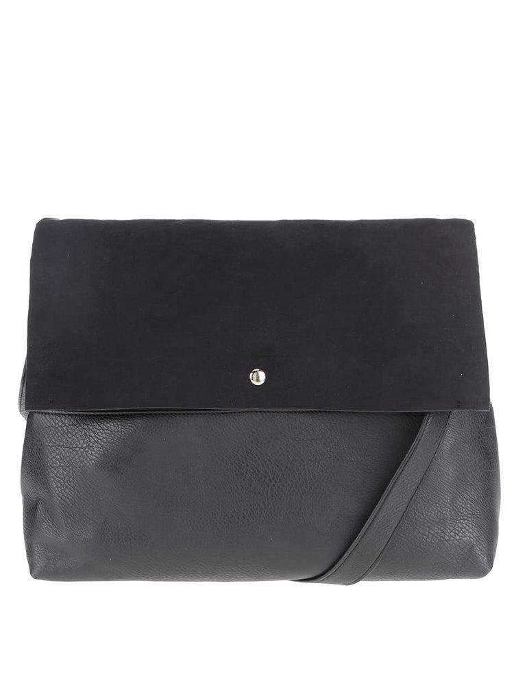 Černá kabelka s klopou v semišové úpravě Dorothy Perkins
