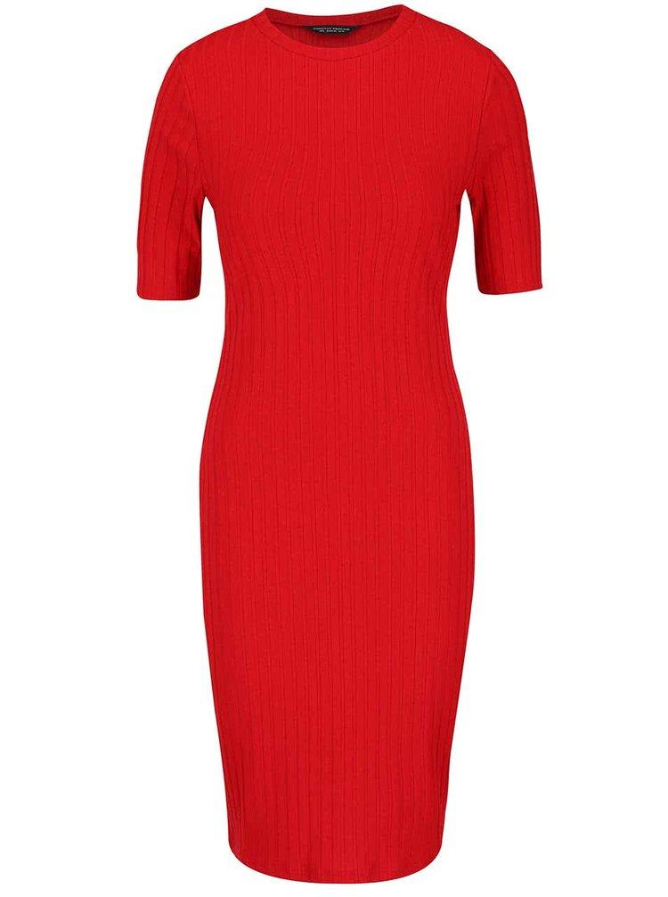 Červené rebrované šaty Dorothy Perkins