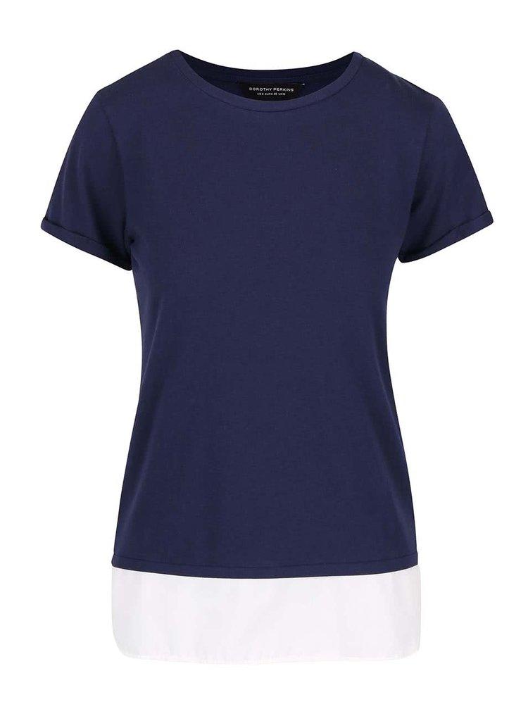 Tmavě modré tričko s všitým spodním lemem Dorothy Perkins