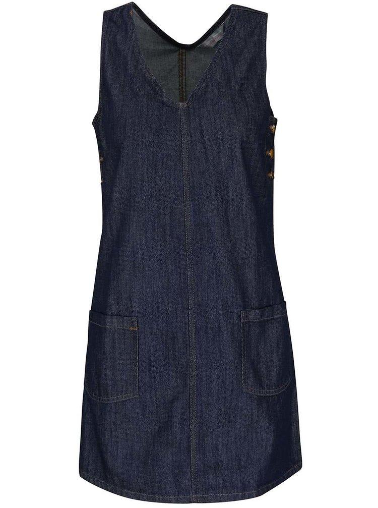 Tmavě modré džínové šaty bez rukávů Dorothy Perkins Petite