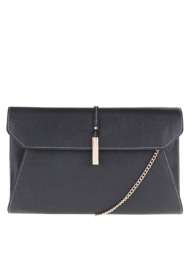 Čierna väčšia listová kabelka s retiazkou Dorothy Perkins
