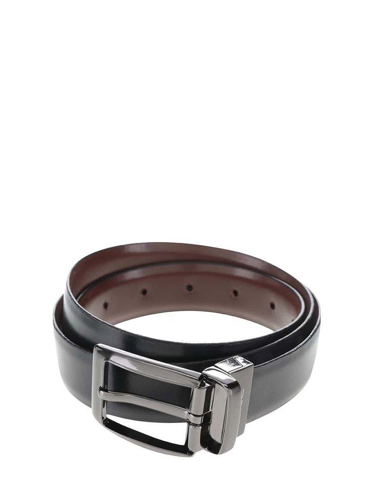Hnědo-černý oboustranný pánský kožený pásek Dice Idaho