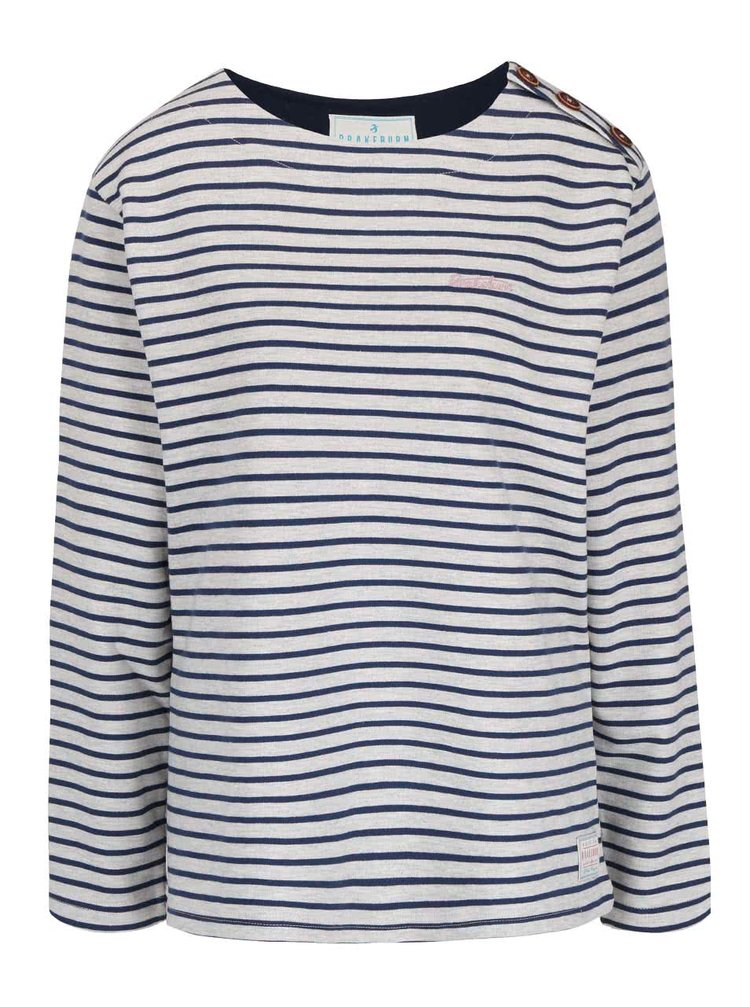 Modro-šedé pruhované tričko s dlouhým rukávem Brakeburn Bella
