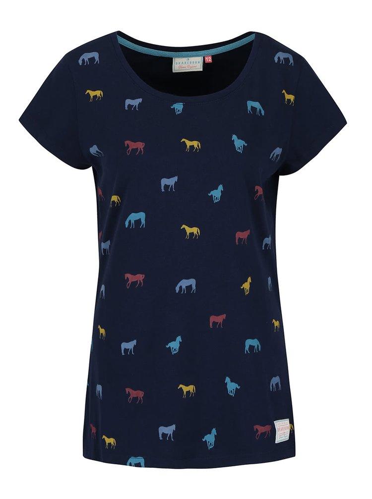 Tmavomodré tričko s potlačou koní Brakeburn Horses
