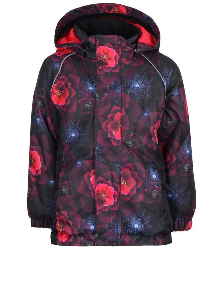 Vínovo-černá holčičí květovaná bunda name it Rise