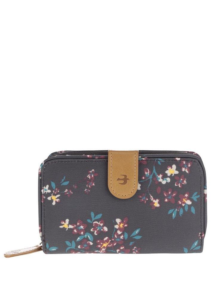 Tmavě hnědá květovaná peněženka Brakeburn Blossom