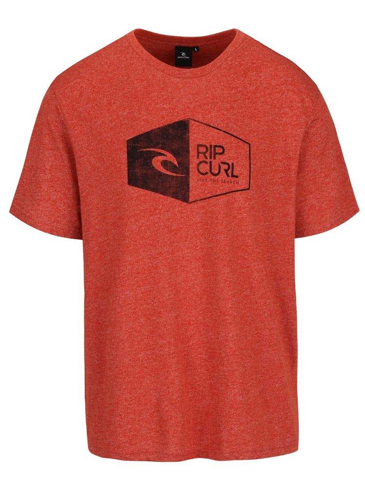 Tehlové melírované pánske tričko s potlačou Rip Curl 3D Icon SS Tee