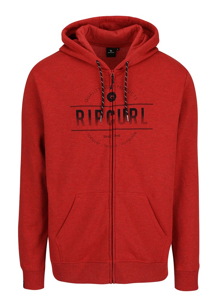 Červená pánska mikina na zips s kapucňou Rip Curl Rounded Rip ZT