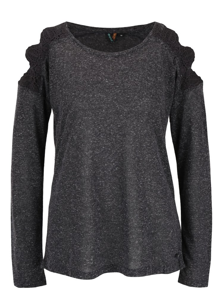 Sivé dámske melírované tričko s dlhým rukávom Rip Curl Quilotta