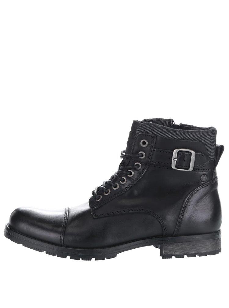 Černé kožené kotníkové boty s přezkami Jack & Jones Bany