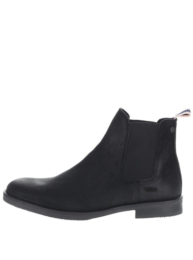 Čierne členkové chelsea topánky z brúsenej kože Jack & jones Paul