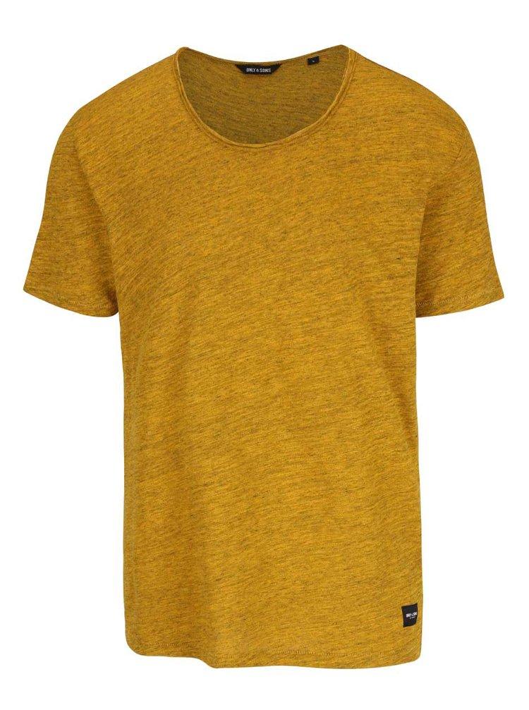 Žlté melírované tričko ONLY & SONS Albert