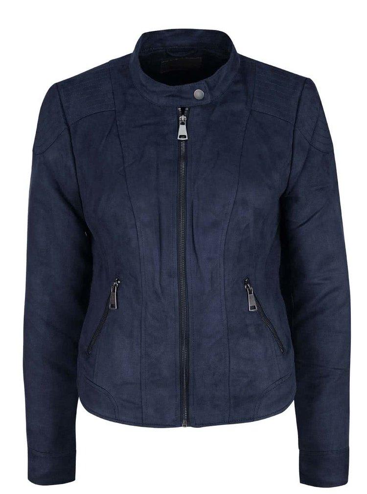Tmavě modrá bunda v semišové úpravě VERO MODA Mirra