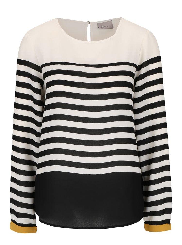 Černo-krémové pruhované tričko s dlouhým rukávem VERO MODA Ana