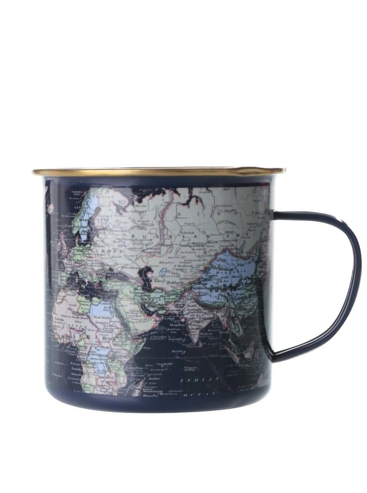 Tmavomodrý plechový hrnček s mapou sveta Gift Republic