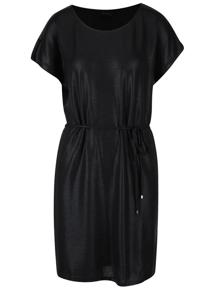 Rochie neagră cu aspect lucios VILA Leika