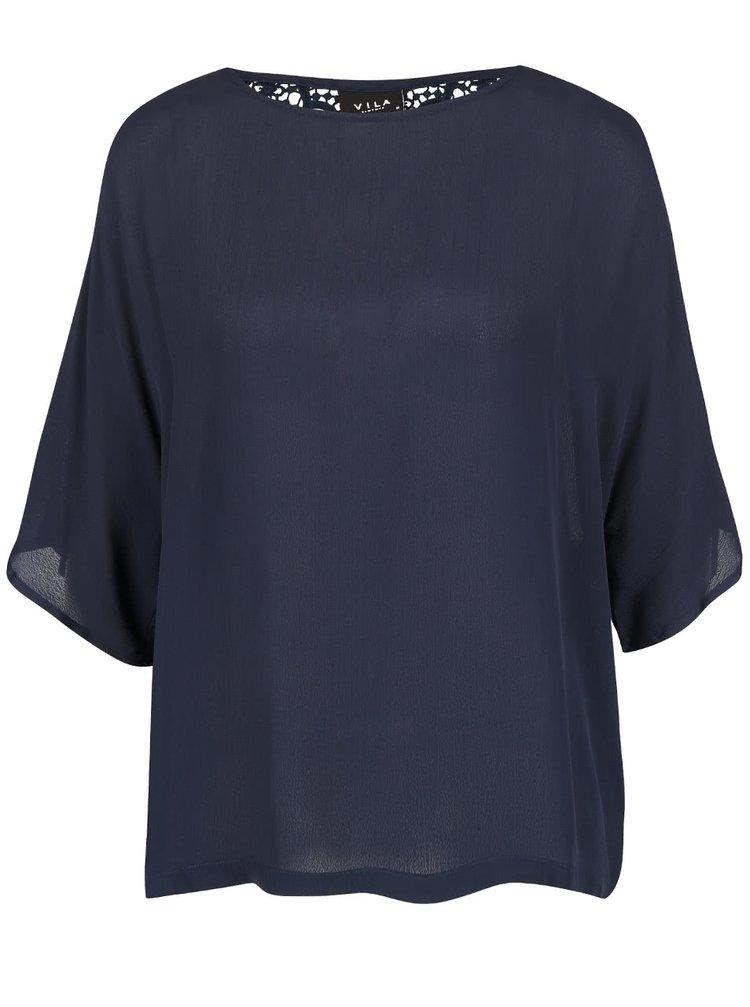 Tmavě modrá halenka s krajkou na zádech VILA Alberte