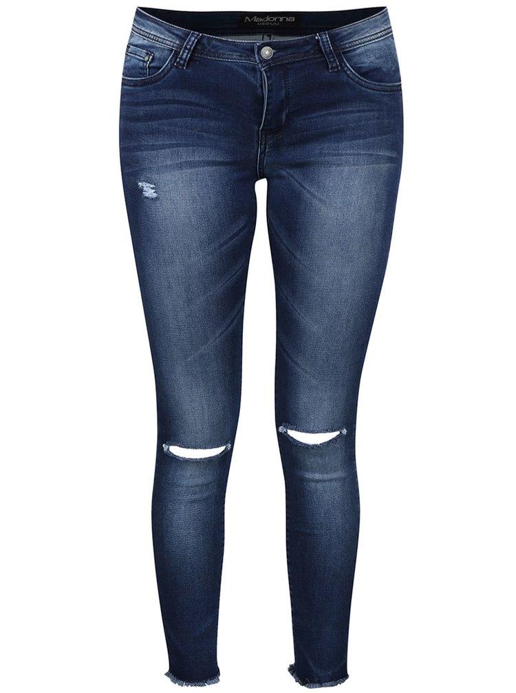 Modré džíny s dírami pod koleny Madonna