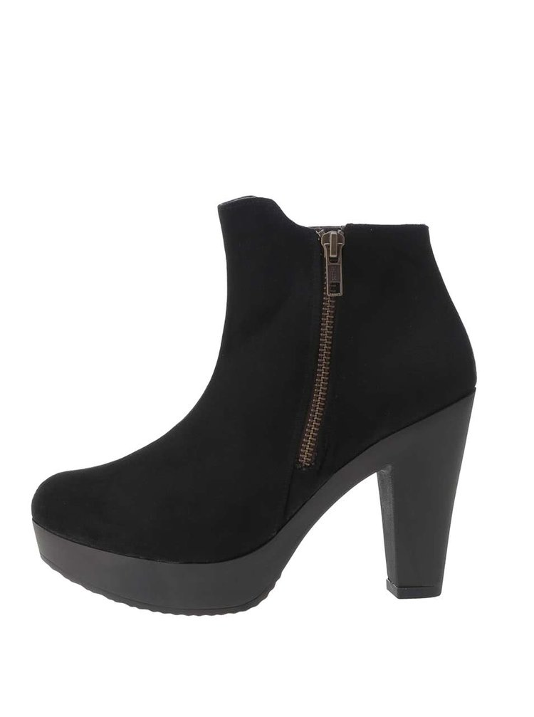 Černé kotníkové boty na platformě v semišové úpravě OJJU