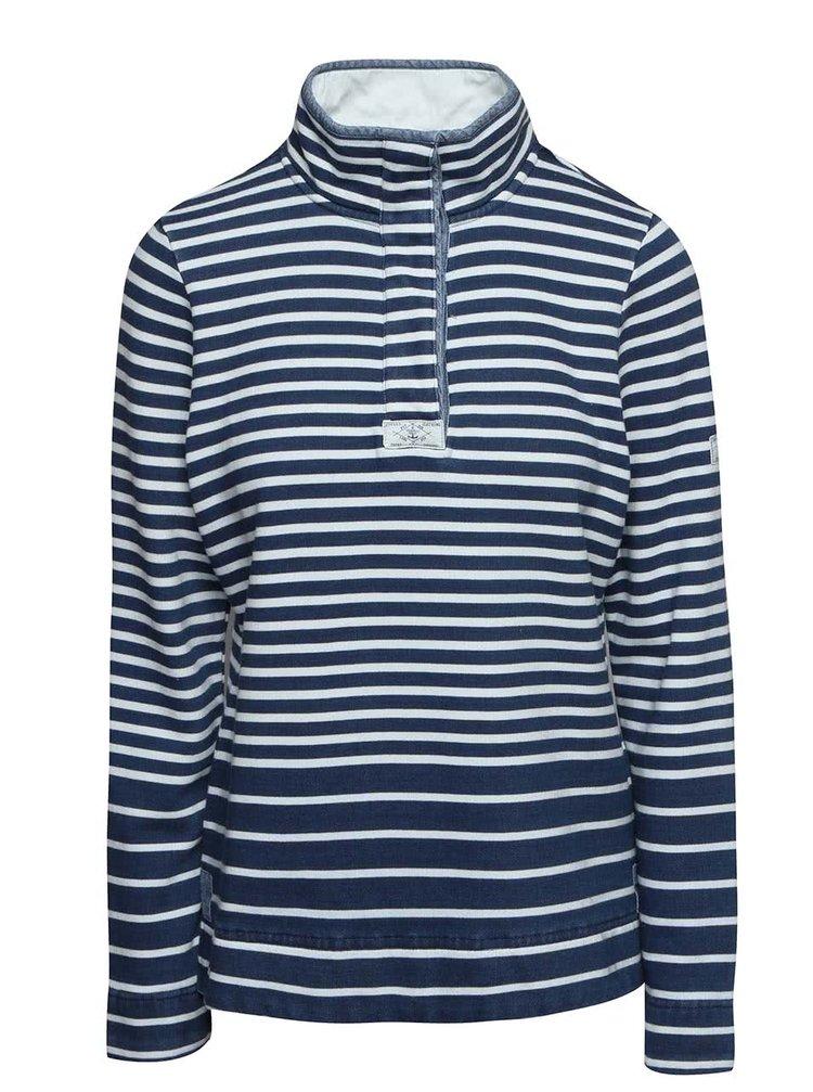Bluză albastră Tom Joule Cowdray din bumbac cu guler înalt