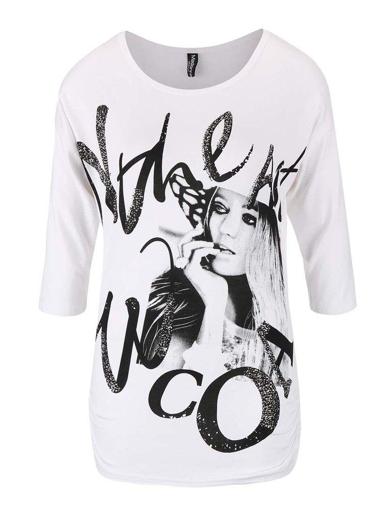 Bílé tričko s potiskem a aplikací Madonna
