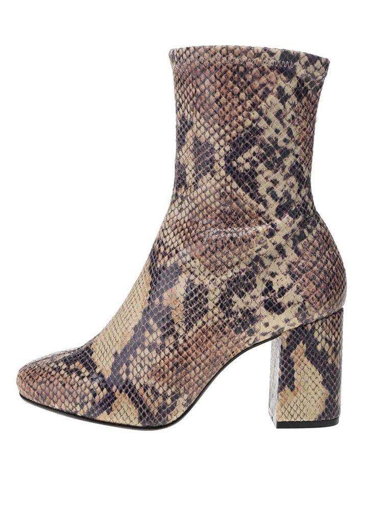 Hnedé členkové topánky na podpätku s hadím vzorom OJJU