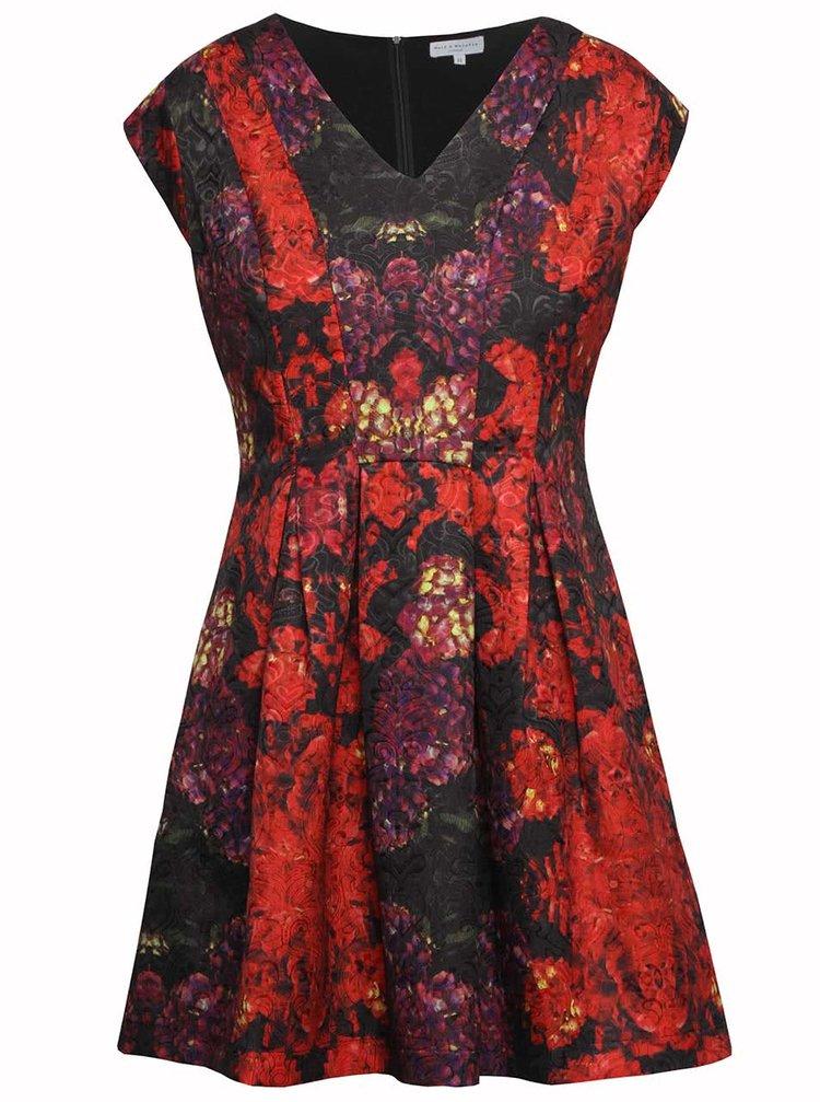 Čiernočervené vzorované šaty Wolf & Whistle
